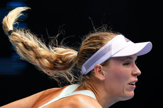 Caroline Wozniacki during her win at the Australian Open on Wednesday.