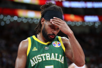 Patty Mills shows his devastation after losing to Spain.