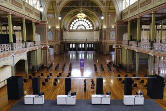 Final preparations were being made on the weekend at Melbourne's Royal Exhibition Building which has become a mass vaccination centre.