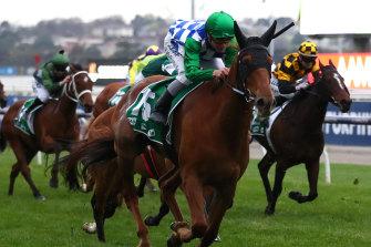 Jockey Ben Melham rides Moonlight Maid to win race 9 the Edward Manifold Stakes at Flemington.