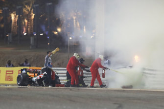 The aftermath of Romain Grosjean's crash at the Bahrain Grand Prix.