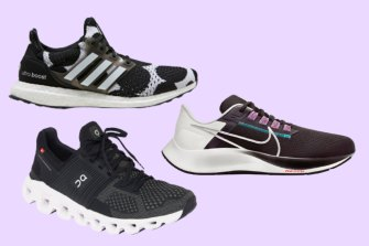 Clockwise from top left: Adidas Ultraboost DNA X Marimekko; Nike Aim Zoom Pegasus 38; and On Running Cloudswift Trainer.