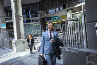 United Patriots Front founding member Chris Shortis leaves an earlier VCAT hearing.