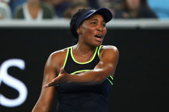 Venus Williams reacts during her clash with Coco Gauff.