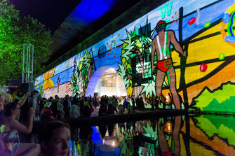 Ballarat artist Josh Muir's Still Here artwork, projected onto the NGV for White Night 2016.