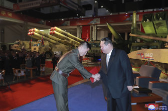 North Korean leader Kim Jong-un visits an exhibition of weapons systems in Pyongyang on Monday.
