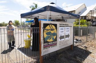 A COVID-19 testing site at the Wurli-Wurlinjang Aboriginal Health Service in Katherine, NT.