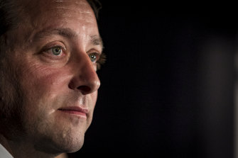 Former opposition leader Matthew Guy, pictured conceding defeat in the 2018 election, has been touted as a contender.