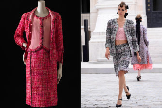 Timeless tweed ... a 1966 incarnation of the iconic Chanel suit (left), and at last week's couture presentation in Paris.