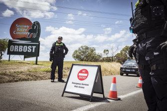 The Princes Highway road block at Orbost