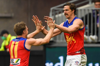 Joe Daniher booted four goals for the Lions.