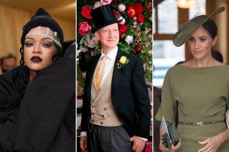 Rihanna at the 2021 Met Gala wearing Stephen Jones; milliner Stephen Jones; Meghan Markle, Duchess of Sussex, wearing Stephen Jones at the 2018 christening of Prince Louis.