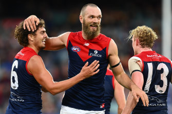 Star Demons skipper Max Gawn and his Melbourne brethren were all smiles after their big win over Hawthorn.