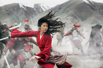 Mulan (Liu Yifei) proves herself as a warrior in the Disney+ film.