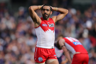 Sydney Swans champion Adam Goodes during the 2015 season, when he was booed out of the sport without support from the AFL.