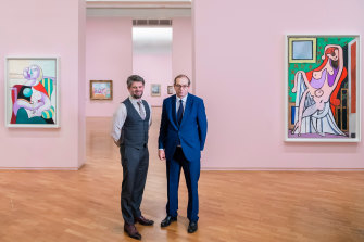 Nick Mitzevich, National Gallery of Australia director, and Laurent Le Bon, Musée National Picasso Paris director, with some of the works unable to return home.
