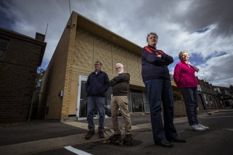 Mortlake residents Doug Parker, Kelvin Goodall, Jill Parker and Rosalie Goddard are upset at the closure of their only bank.