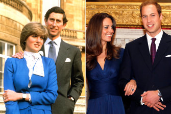 Princess Diana's engagement ring (later given to Kate Middleton, right) sparked a surge in demand for sapphires.