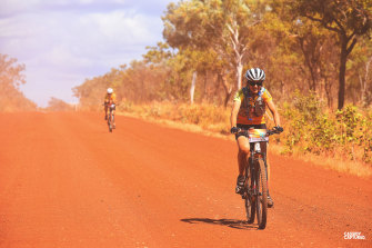 Riders tackling the red gravel in the Gibb Challenge 2019.