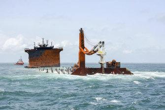 The burnt MV X-Press Pearl sinks off Colombo port, Sri Lanka.