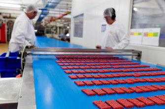 Workers making Cherry Ripes at a Cadbury factory.