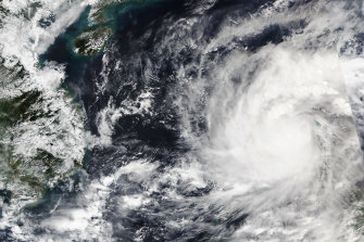 Satellite imagery of Typhoon Goni passing through the Philippines.