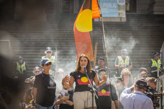 Thorpe speaks at an Invasion Day rally in 2019.