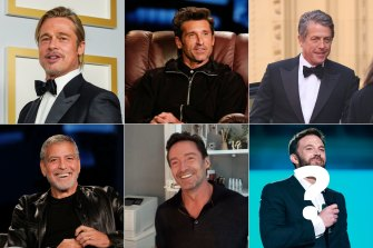 Will Ben Affleck (bottom right) join the ranks of the 'celebrities who age well' club? (Clockwise from top left) Brad Pitt, Patrick Dempsey, Hugh Grant, George Clooney, Hugh Jackman.