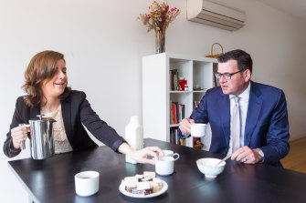 Premier Daniel Andrews with Clare Burns in 2017 when she lost in the Northcote byelection.