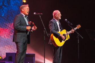 Michael Barclay and Paul Kelly perform on Wednesday night.