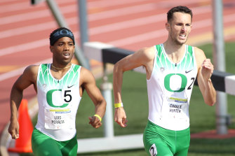 Charlie Hunter (right) in action for Oregon.