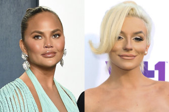 Reality show star Courtney Stodden, pictured on the right at an awards show in 2015, said Chrissy Teigen, on the left in 2020, followed up mocking tweets with direct messages wishing for their death.
