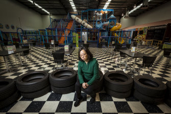 Linda Lin in her Crocs play centre in Ringwood, closed for 203 of the past 220 days.