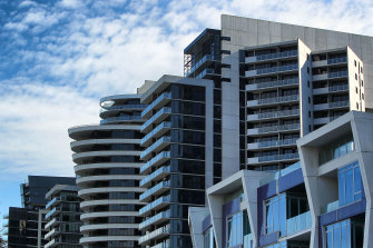 Docklands apartment rental prices are down more than 33 per cent.