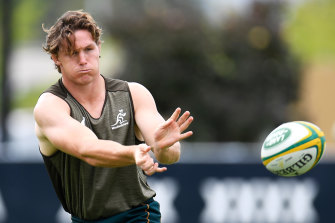 Wallabies skipper Michael Hooper at Friday's captain's run ahead of the Rugby Championship showdown with Argentina in Townsville.
