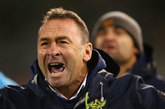Ricky Stuart fires up at his players on the sideline.
