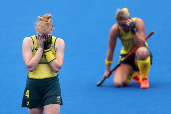 Amy Rose Lawton of the Hockeyroos in tears at the end of the match.