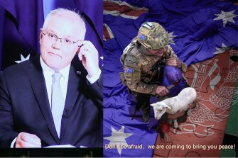 Scott Morrison was shocked by this Zhao Lijian tweet, which depicted an Australian soldier about to slit an Afghan boy's throat.