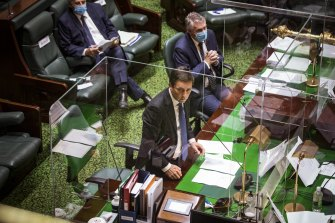 Returned Opposition Leader Matthew Guy in question time on Tuesday.