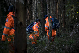 SES volunteers searching for William on Tuesday.