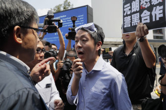 Pro-democracy Hong Kong lawmaker Ted Hui, pictured during a demonstration last year.