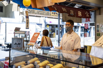 Matsue Kunio at his family's store in  the famous Tsukiji market in Tokyo.