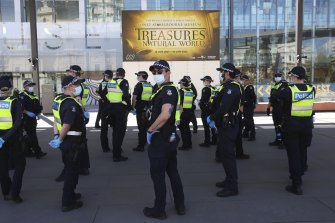 Police patrolling the Melbourne Museum.