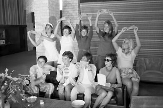 The 'Original Nine' in 1970, including Judy Dalton (front left, seated) and Billie Jean King (standing, second from left).