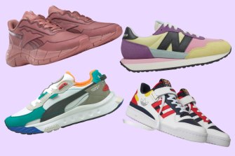 Clockwise from top left: Reebok: Victoria Beckham x Reebok Zig Kinetica; New Balance 237; Adidas Forum Low Shoes; and Puma Wild Rider Layers Sneakers.