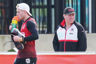 Brett Ratten watches his players at training on Wednesday.