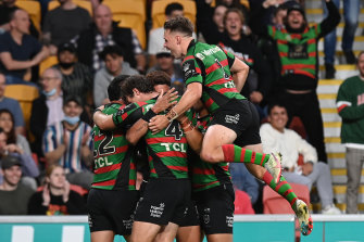The Rabbitohs celebrate another try en route to the grand final.