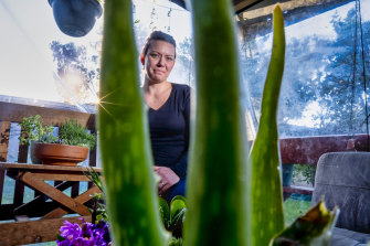Rachel Durrant  in her garden in Craigieburn. She has grown succulents from cuttings she bought online.