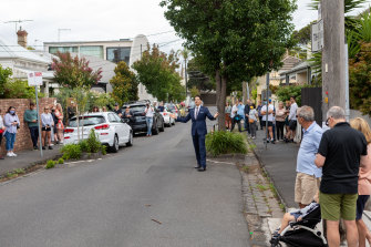 A large crowd turns out for an auction in South Yarra this month.