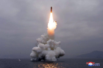 A missile launched from near North Korea's eastern coastal town of Wonsan last year; North Korea and China have been accelerating their development of long-range missiles in recent years.